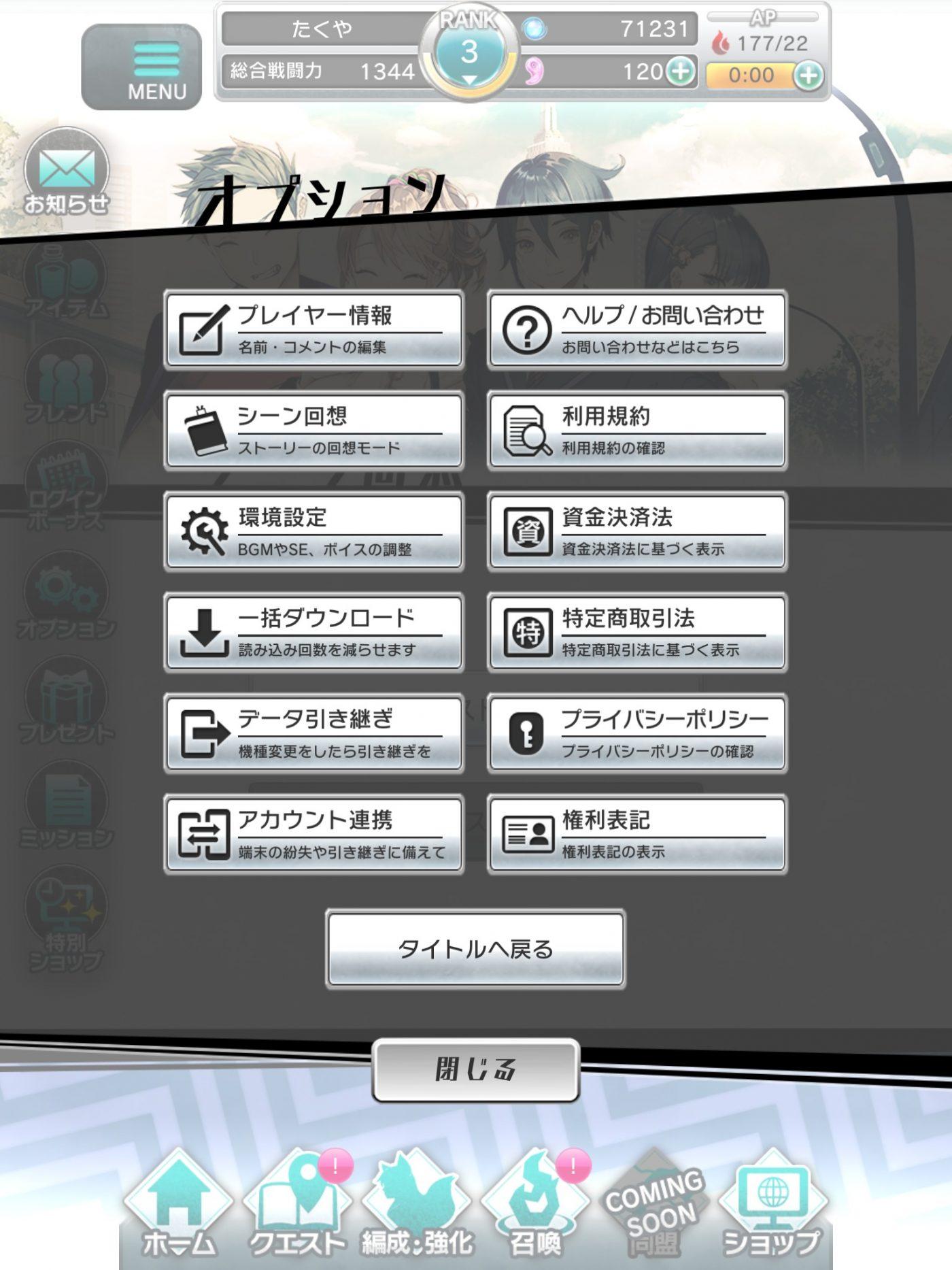 オプション設定画面